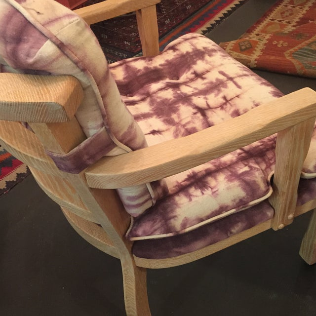 Vintage Lined Wood Armchairs on Casters - A Pair - Image 7 of 10