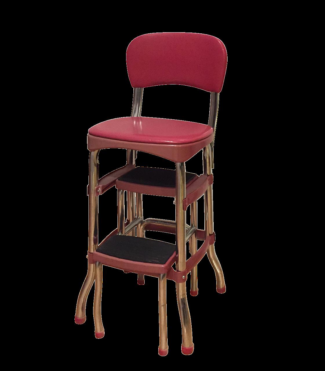 Mid Century Red Vinyl Step Stool Chairish