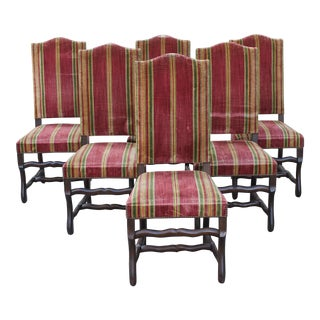 Monumental Set Of Louis XIII Style Solid Walnut Os De Mouton Dining Chairs - Set of 6