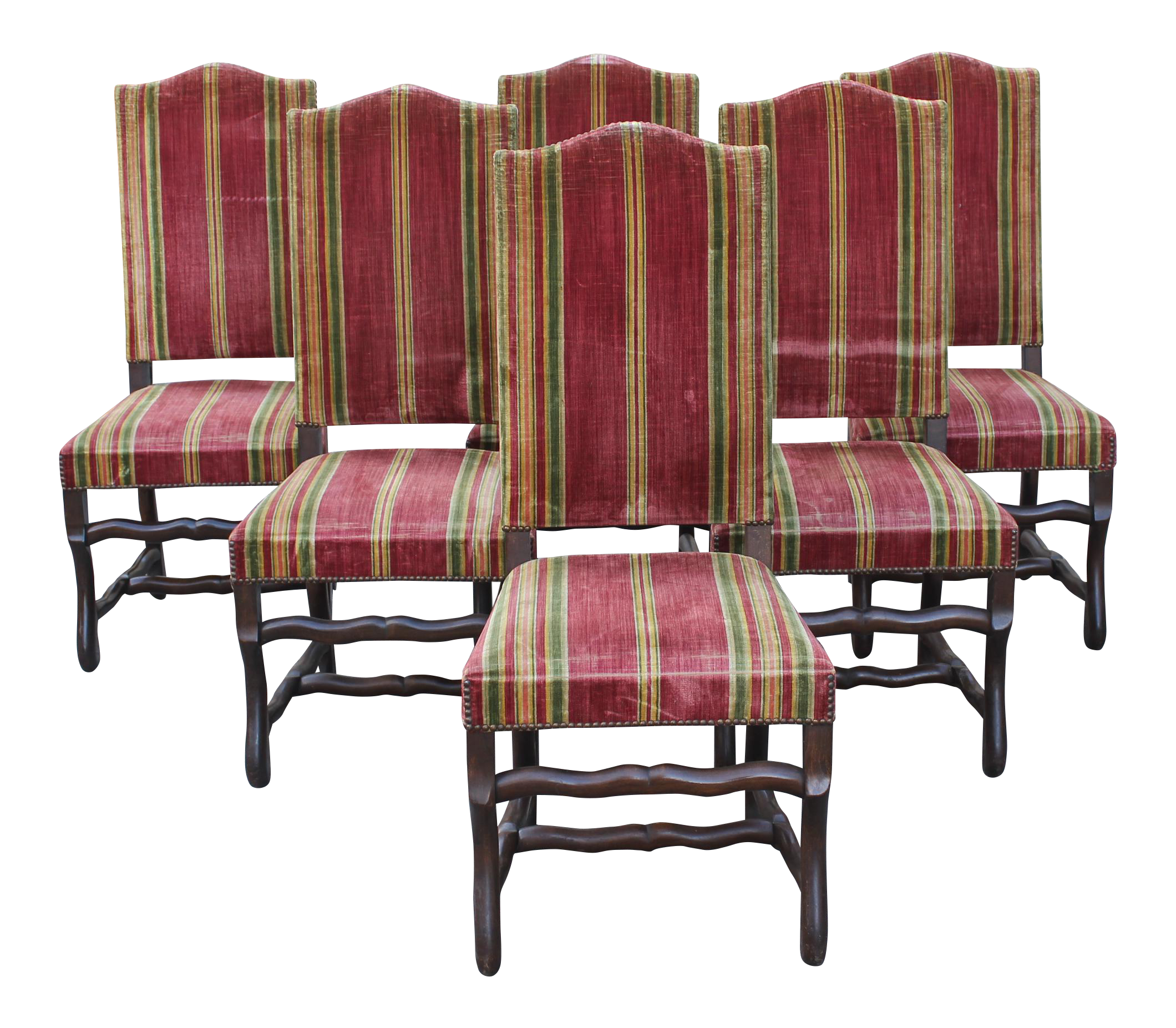 monumental set of louis xiii style solid walnut os de mouton dining chairs set of
