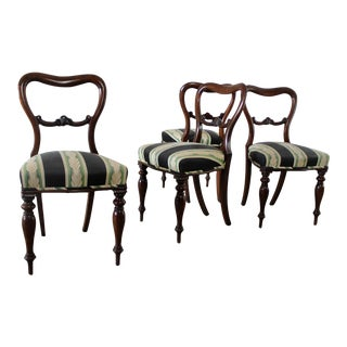 Antique Victorian Rosewood Dining Chairs - Set of 4