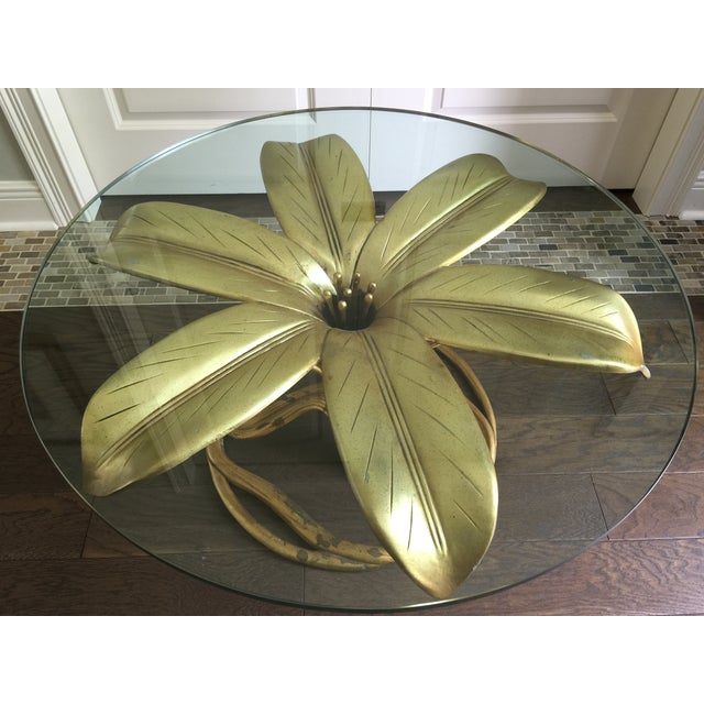 Arthur Court Vintage Gilt Lilly Base Coffee Table - Image 6 of 7
