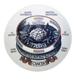 Piero Fornasetti Astrological Zodiac Plate, Cancer, Gli Zodiaci Farmacope