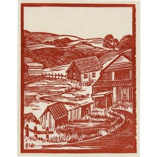 1940s Vintage Linoleum Block Print by Mary Watterick Evans