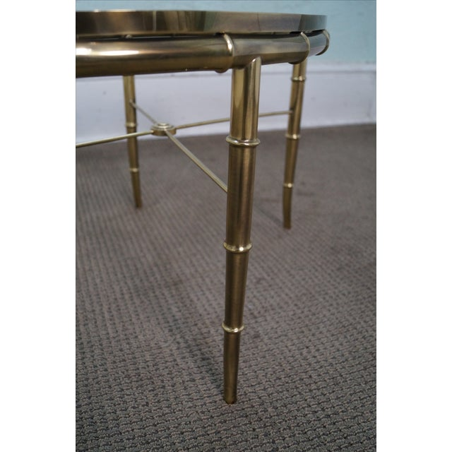 Brass Faux Bamboo Coffee Table: Italian Brass Faux Bamboo Glass Top Coffee Table