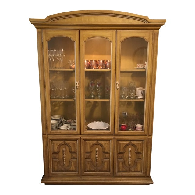 Traditional Style Yellow Stained China Cabinet - Image 1 of 7