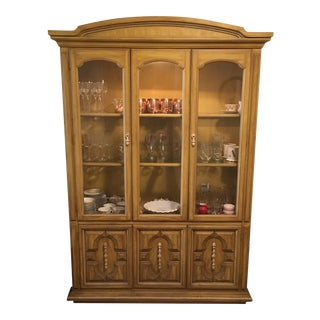 Traditional Style Yellow Stained China Cabinet