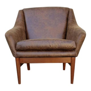 Danish Style Brown Faux Leather Lounge Chair