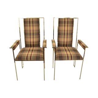 Modern Plaid & Brass Side Chairs - A Pair