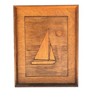 Mid-Century Modern Nautical Sailboat Wood Art