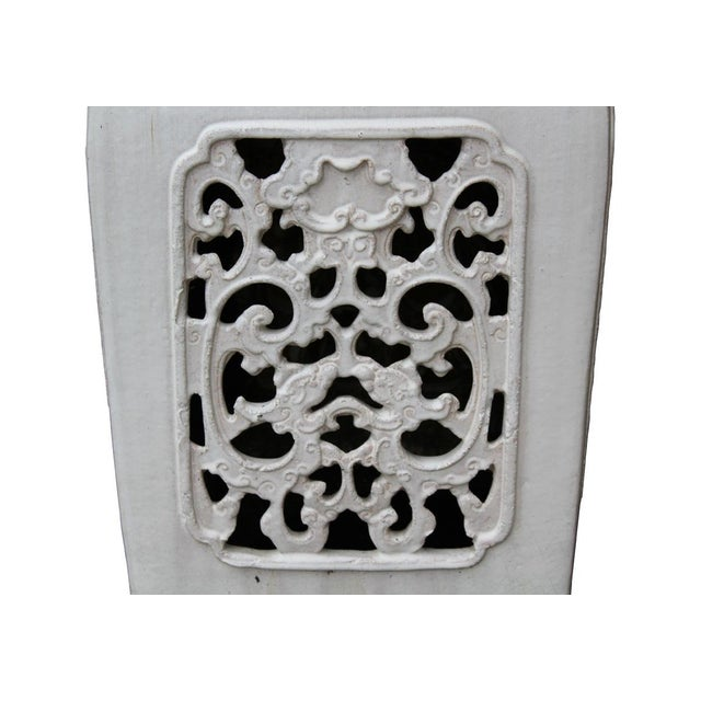 Chinese Off White Ceramic Square Dragon Garden Stool - Image 6 of 7