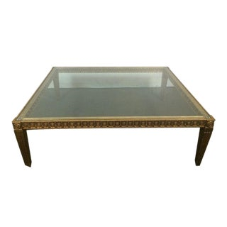 Contemporary French Rococo Style Carved and Painted Giltwood Glass Top Coffee Table