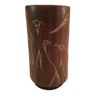Mid-Century Ceramic Stick Figure Vase
