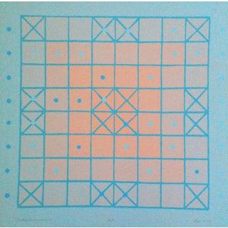 Judith Azur 1970's Graphic Op-Art Silkscreen