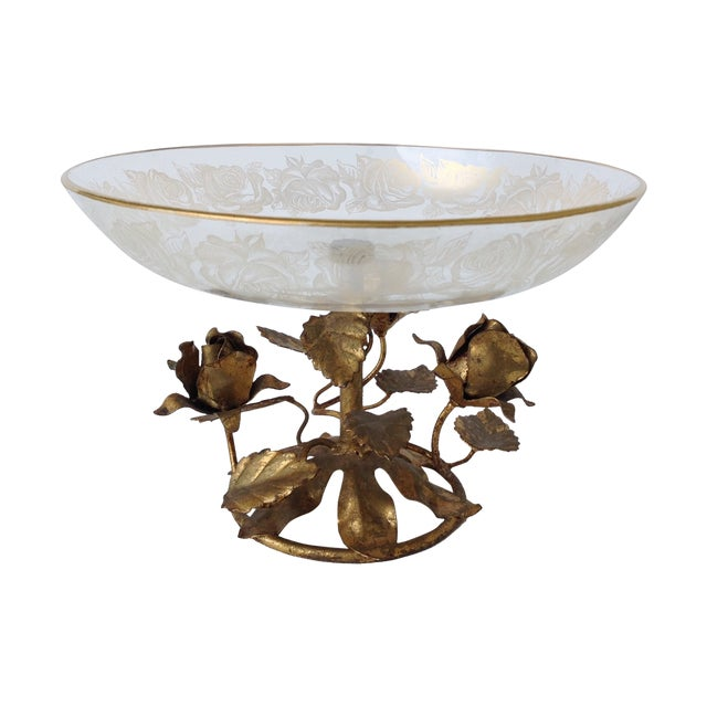 Gilt Italian Tole & 22k Gold Glass Center Bowl II - Image 1 of 8