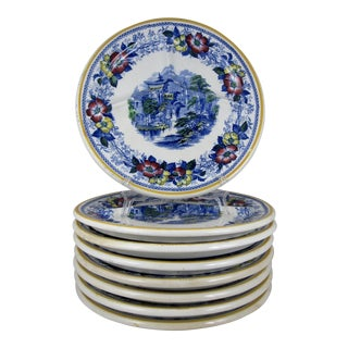 Ironstone Transferware Divided Grill Chop Plates - Set of 8