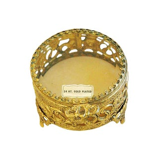 1960s Vintage 24k Gold-Plated Filigree Trinket Box