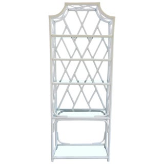 Vintage White Rattan and Glass Etagere