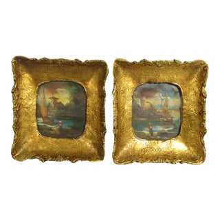 Italian Florentine Style Paintings on Tin - A Pair