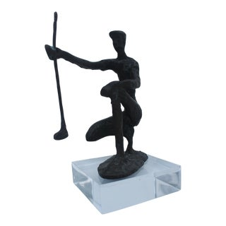 Solid Bronze & Lucite Base Abstract Figurative Sculpture