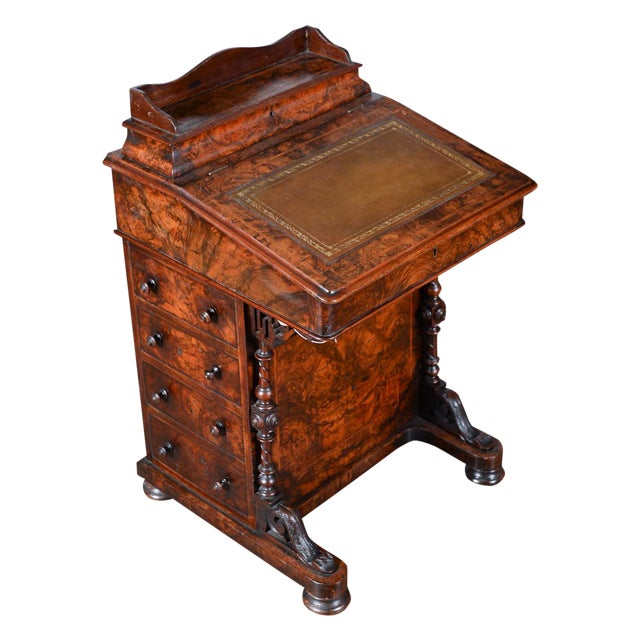 19th C. Burl Walnut Victorian Davenport Desk - Image 1 of 10