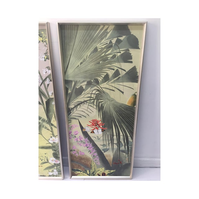 Vintage Hand Painted Silk Panels - A Pair - Image 4 of 6