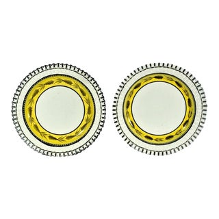 Liverpool Herculaneum Yellow-Banded Openwork Creamware Dessert Dishes - a Pair