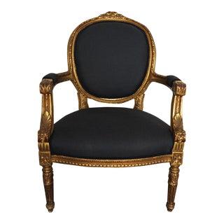 Vintage Louis XVI Giltwood Carved Armchair