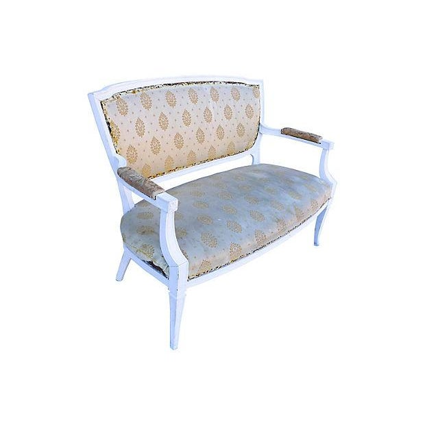 Petite French-Style Love Seat Painted White - Image 5 of 5