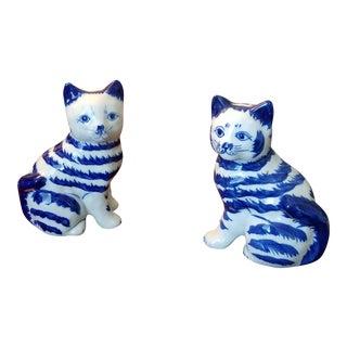 Porceline Blue & White Kittens - A Pair