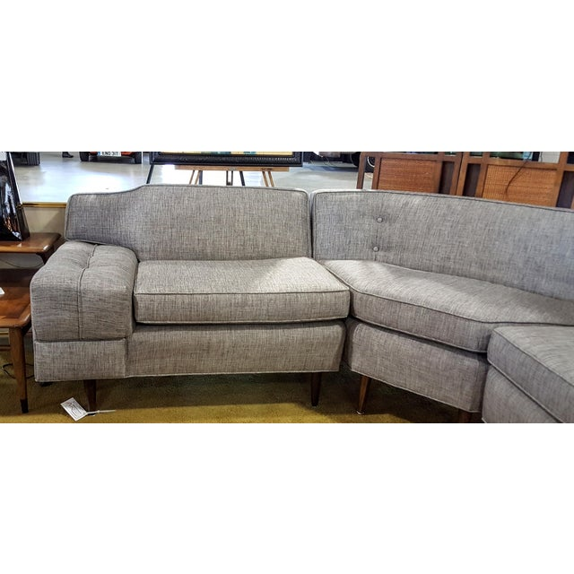 Mid-Century Modern Gray Sectional Sofa - Image 2 of 8