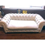 Image of White Faux Leather Tufted Loveseat & Ottoman