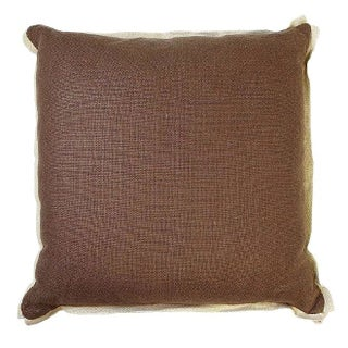 Brown Pillow With Natural Trim