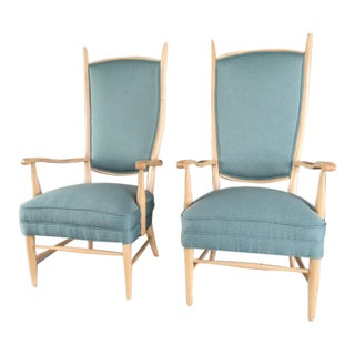 Mid-Century Modern Curved Tallback Armchair Attributed to Edward Wormley - A Pair