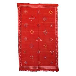 """Red Vintage Moroccan Cactus Silk Rug - 4'9"""" x 7'9"""""""