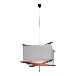 One of five Franco Albini wood and fabric pendant lamps, Italy, 1950s