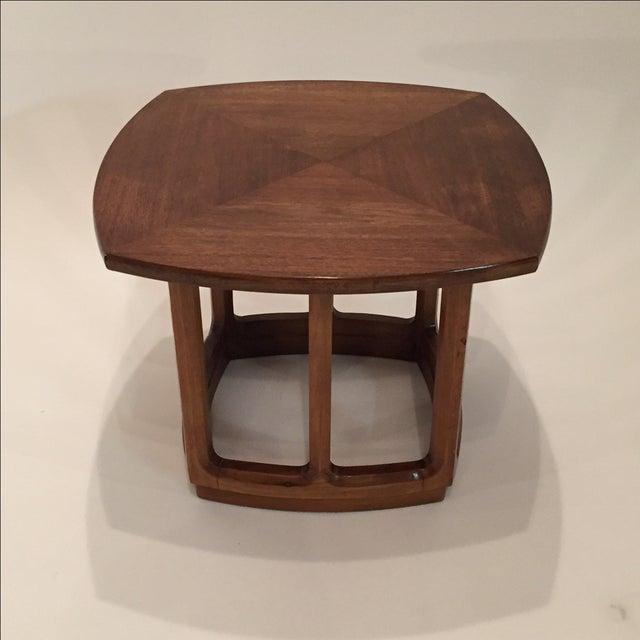 American Mid Century Modern Atomic Age Small Patio Round: Mid-Century Mahogany Small Side Table