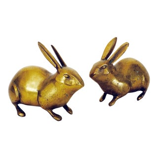 Vintage Brass Rabbits - A Pair