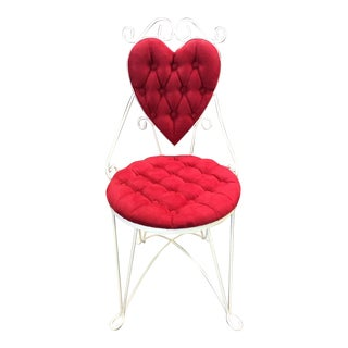 Red Suede & White Iron Heart Back Vanity Chair