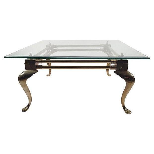 Square Brass Cabriole-Leg Coffee Table