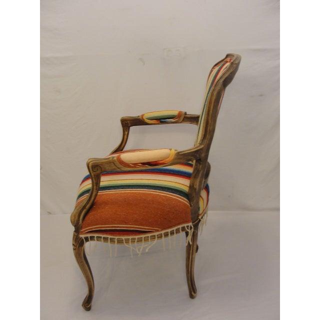 Bergere Chair Custom Upholstered in Serape - Image 4 of 8