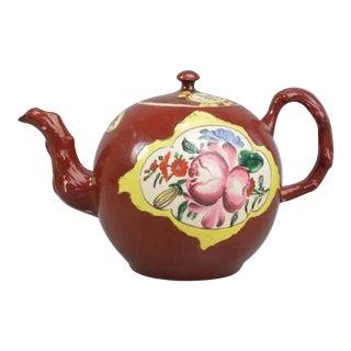 Plum Red-ground Saltglaze Stoneware Teapot & Cover, Circa 1760.