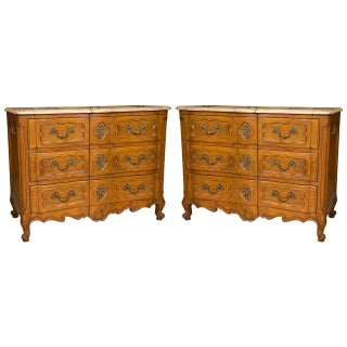 Marble-Top Louis XV Style Commodes - A Pair