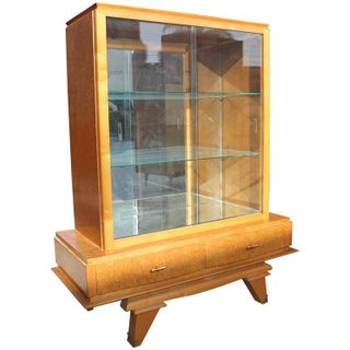 French Art Deco Sycamore Display Cabinet