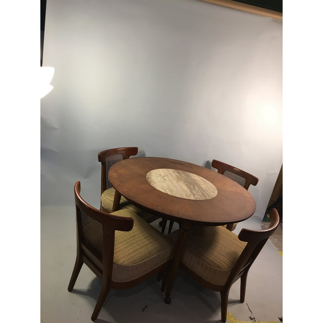 Mid-Century Round Marble Insert Dining Table & Chairs - Image 11 of 11