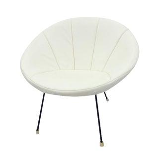 Vintage Mid-Century Leather & Rattan Scoop Chair