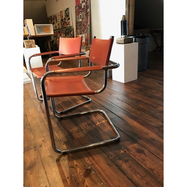 Mart Stam Thonet S34 Tubular Cantilever Chrome and Leather Chairs - a Pair - Image 5 of 5