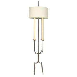Tommi Parzinger Nickeled Steel Candelabra Floor Lamp