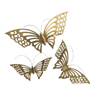 Brass Butterfly Wall Hangings - Set of 3