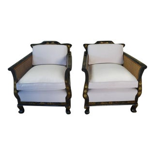 Pair of English Chinoiserie Painted and Cane Armchairs